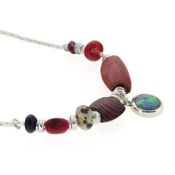 Red opal triplet necklace